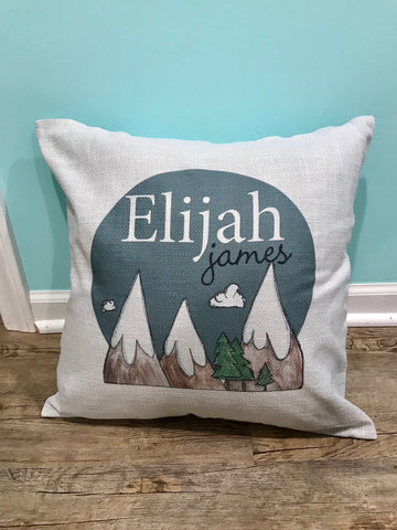 Mountains theme pillow / Outdoor theme / boy room decor / personalized gift