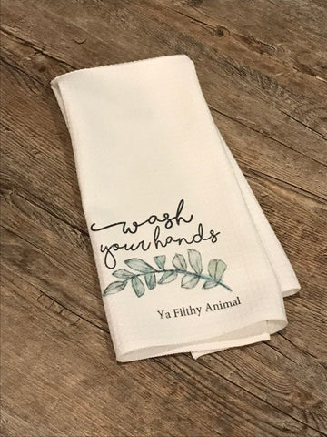 Wash your hands filthy animal/ bath towel/ funny tea towel / hand towel