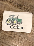 Personalized Tractor zippered bag / small bag  / gift for boy / gift for him