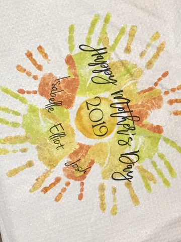 You are my Sunshine handprint footprint Art towel/ Mother's Day Gift / tea towel