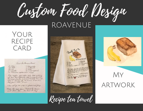 Custom Food Recipe tea towel