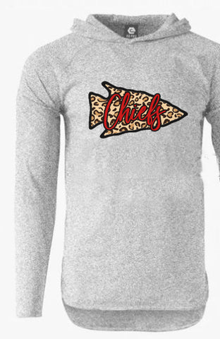 Grey Pullover Hoodie with Leopard Print Arrowhead