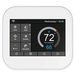 Karandash F-22 Touch Wi-Fi Thermostat with Touchscreen Color Display for Smart Home, Compatible with Alexa  (White) - Cool Smart Home