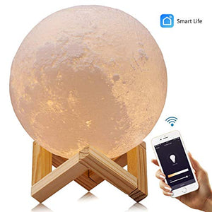 "Smart WiFi 3D Moon Lamp 5.9""/15cm with Wooden Holder, 3D Printing Moon Light Night Lamp, APP Remote Control and Voice Control Compatible with Alexa, Google Home Assistant and IFTTT - USB recharge - Cool Smart Home"