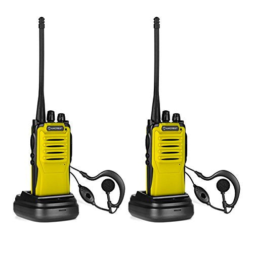 Amcrest ATR-22 Baofeng Two-Way Radio (2 Pack) Walkie Talkie (400-470 MHz), Lithium-Ion Battery, Flashlight, 16 Channels, Headphone and Mic (Yellow) - Cool Smart Home