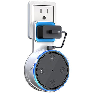 Matone Outlet Wall Mount Hanger Stand for Echo Dot 2nd Generation, A Space-Saving Solution for Your Smart Home Speakers Without Messy Wires or Screws - White - Cool Smart Home