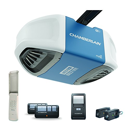 Chamberlain B550 Smartphone-Controlled Ultra-Quiet & Strong Belt Drive Garage Door Opener with MED Lifting Power, Blue - Cool Smart Home