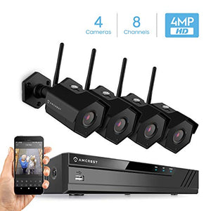 Amcrest 8CH 4MP Security Camera System, w/ 4K NVR, (4) x 4-Megapixel IP67 Weatherproof Bullet WiFi IP Cameras, 3.6mm Angle Lens, Hard Drive Not Included, NV4108-HS-IP4M-1026B4 (Black) - Cool Smart Home