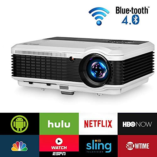 Wireless Bluetooth HDMI Projector 1080P Home Theater 2018 Smart Android 6.0 LCD LED Multimedia Video Projectors 3900 Lumen Outdoor WiFi Proyector for PC Laptop USB Driver TV Stick PS4 Wii Xbox - Cool Smart Home