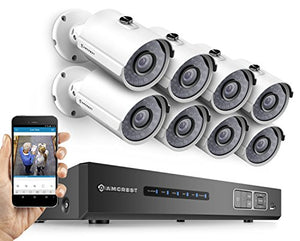 Amcrest ProHD 720P 8CH Video Security System - Eight 1.0-Megapixel (1280TVL) Outdoor IP67 Bullet Cameras, 2TB HDD, Night Vision, Remote Smartphone Access, White Mid (AMDV7208-8B-W) - Cool Smart Home