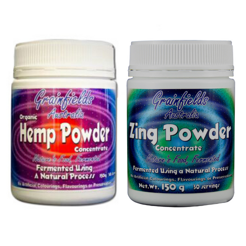 Vitality SuperGreen Option: Hemp Powder + Zing Powder $25 off