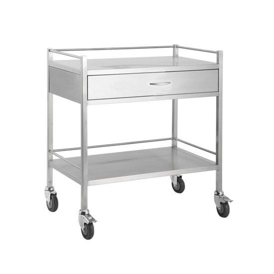 Dressing Trolley Stainless Steel 800mm Wide with Draws and Rail-InterAktiv Health