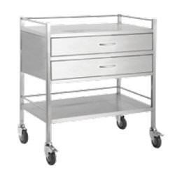 Stainless Steel Trolley 80cm Wide with Draws and Rail-InterAktiv Health