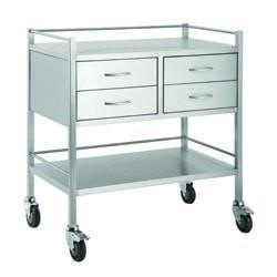 Stainless Steel Trolley 80cm Wide 4 Draws-InterAktiv Health