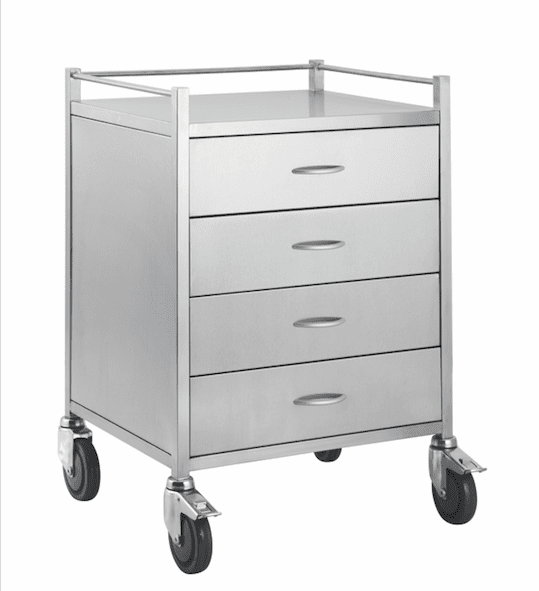 Stainless Steel Trolley with 4 Drawers and Rail