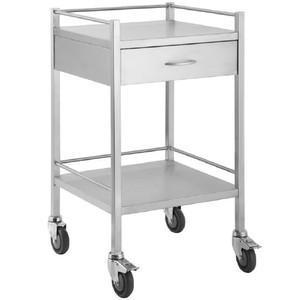 Stainless Steel Trolley 50cm Wide with 1 Drawer and Rail