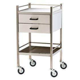 Stainless Steel Trolley with 2 Drawers and Rail