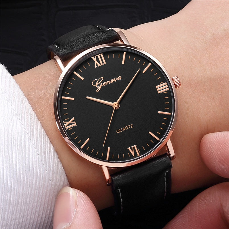Black Rose Leather Watch