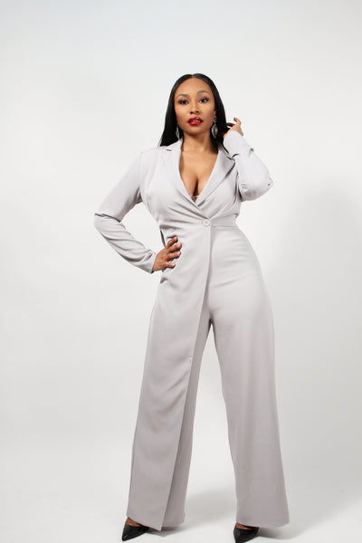 Grey Tailored Jumpsuit