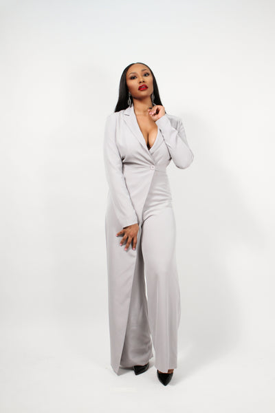 Grey Tailored Jumpsuit - BySonyaMarie.com