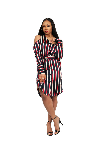Asymmetric Shirt Dress in Varsity Stripe Satin - BySonyaMarie.com