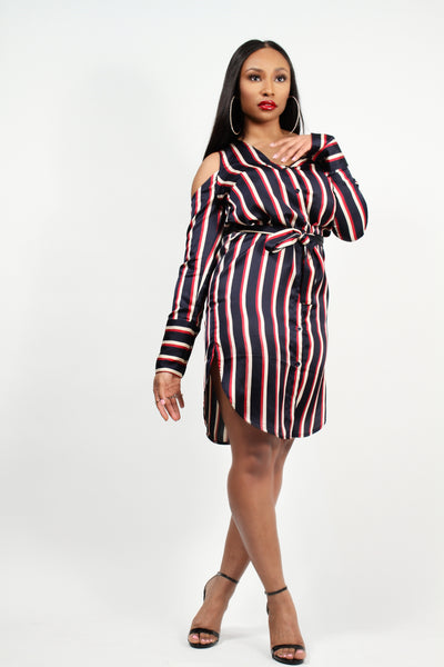 Asymmetric Shirt Dress in Varsity Stripe Satin
