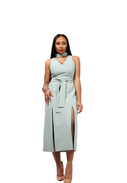 Double Split Graphic Dress In Sage