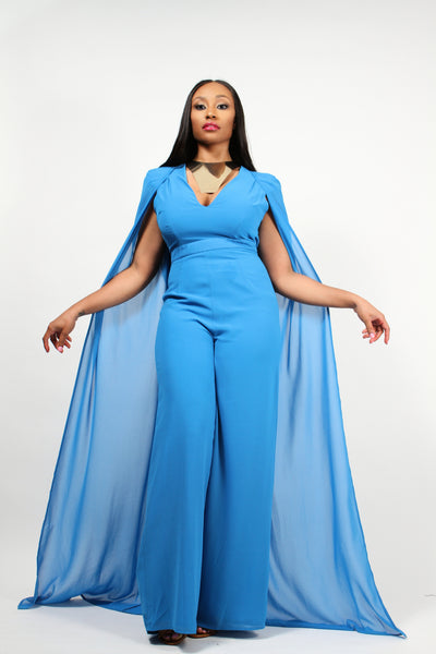 Caped Jumpsuit In Cerulean Blue Chiffon - BySonyaMarie.com