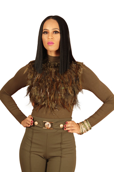 Olive Feather Front Top - BySonyaMarie.com