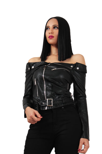 Off Shoulder Belted Moto Jacket