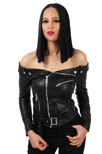 Off Shoulder Belted Moto Jacket - BySonyaMarie.com