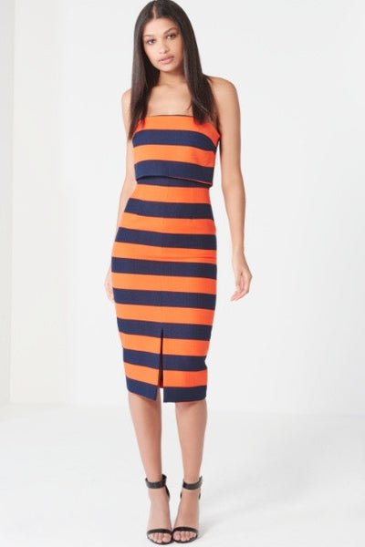 Dress - Orange & Navy Stripe Print Bandeau Midi Dress