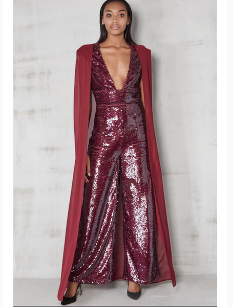 Jumpsuit - Wet Look Sequin Chiffon Cape Wide Leg Jumpsuit