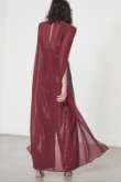 Wet Look Sequin Chiffon Cape Wide Leg Jumpsuit - BySonyaMarie.com