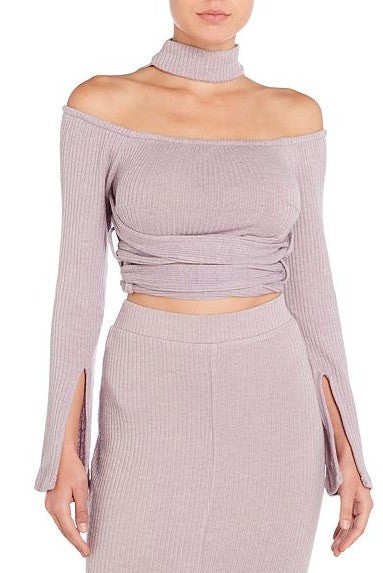 Knit Wrap Around Belt Crop Top - BySonyaMarie.com