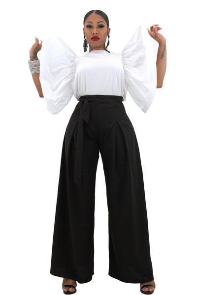 Pants - Mona Belted Palazzo Trousers