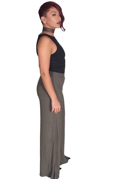 Pants - Olive Wide Leg Trousers