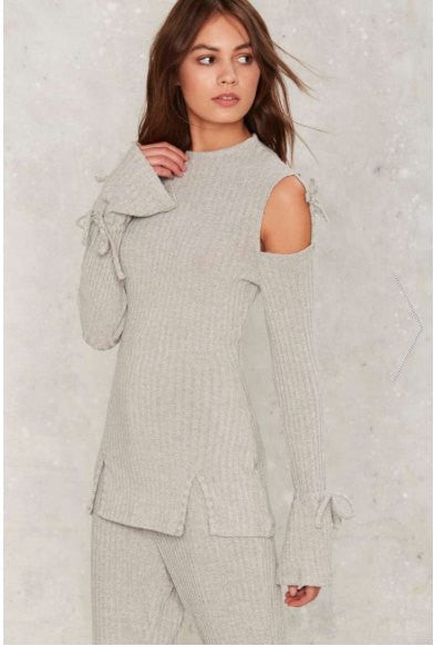 Shirts - Lavish Alice Grey Rib Cold Shoulder Tie Top