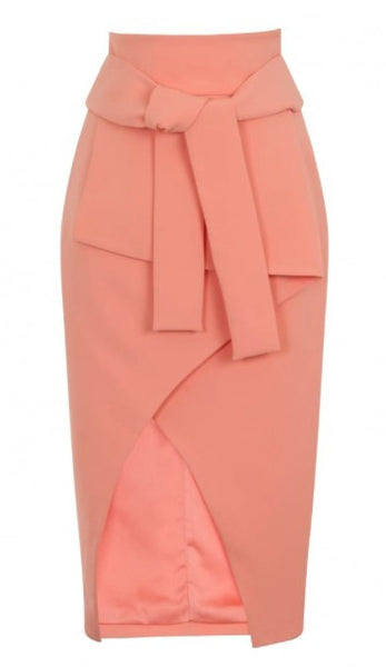 Skirts - Tie Front Asymmetric Wrap Skirt