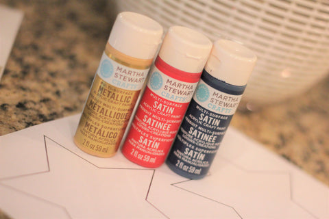Martha Stewart Paints, Acrylic Paints, Red, white and blue crafts