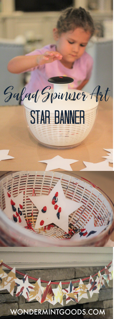 Spin art DIY, making spin art with a salad spinner, 4th of July Kids Craft, Star Banner, Decorating for 4th of July, Patriotic Craft