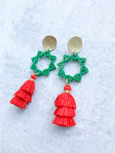 Load image into Gallery viewer, Geometric Glitter Circle Tiered Tassel Earrings