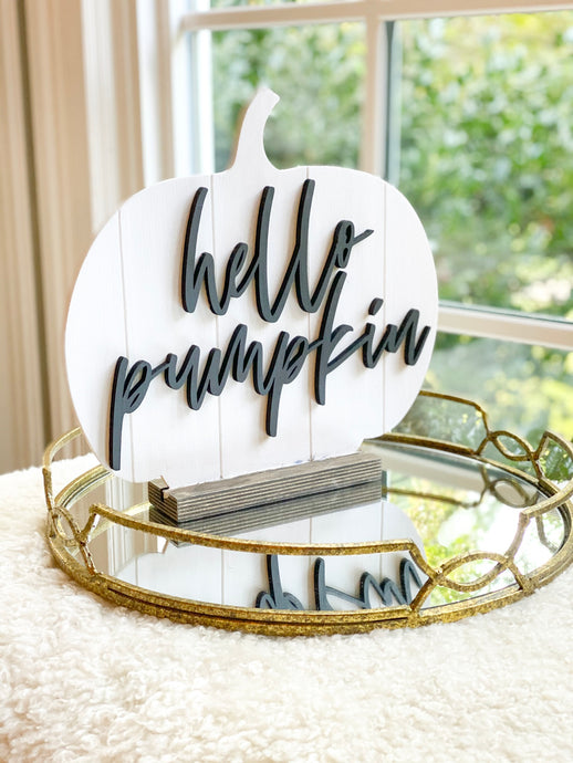 Shiplap Wood Pumpkin with Stand - hello pumpkin in black