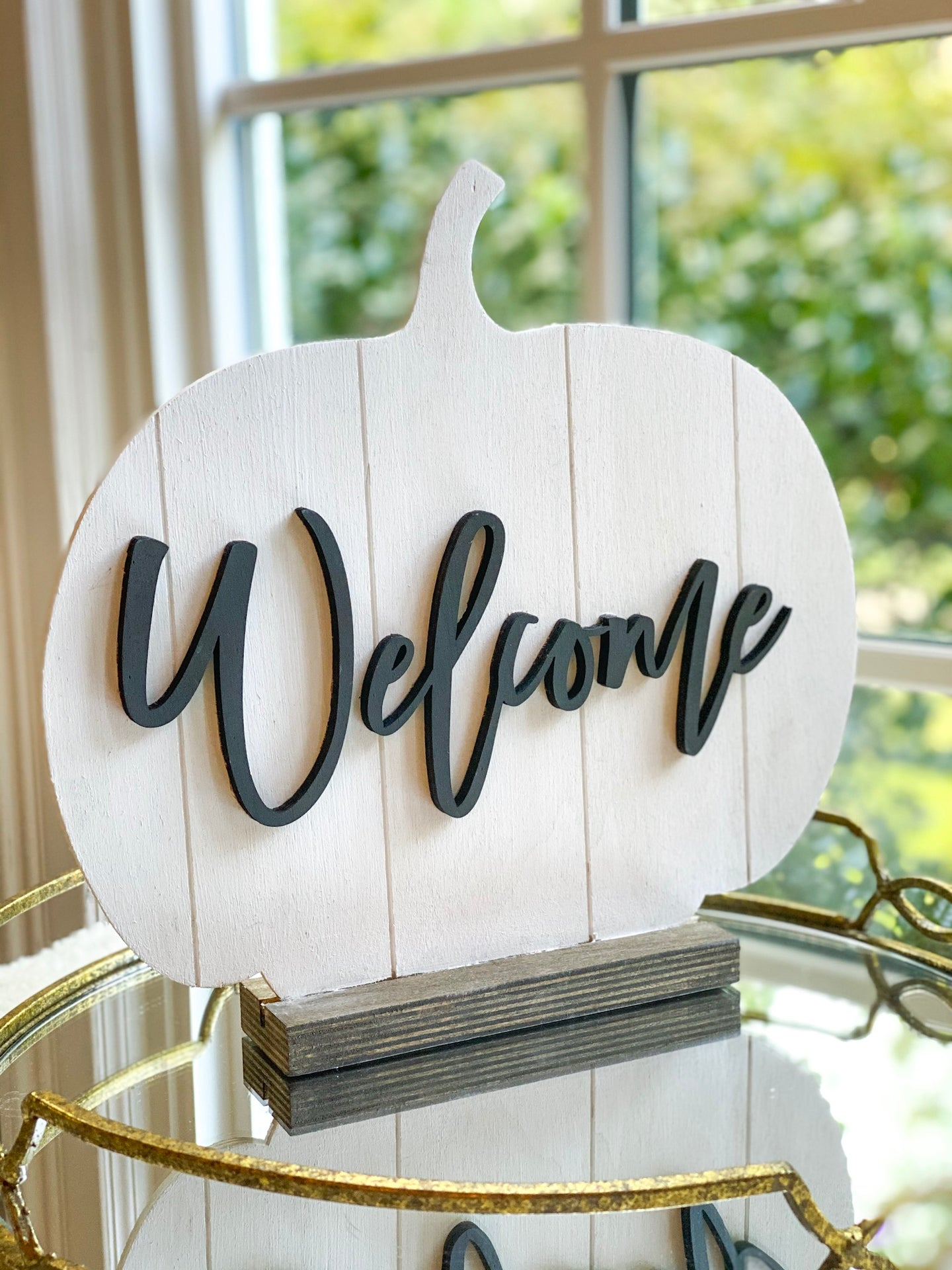 Wood Pumpkin with Stand - Welcome in Black