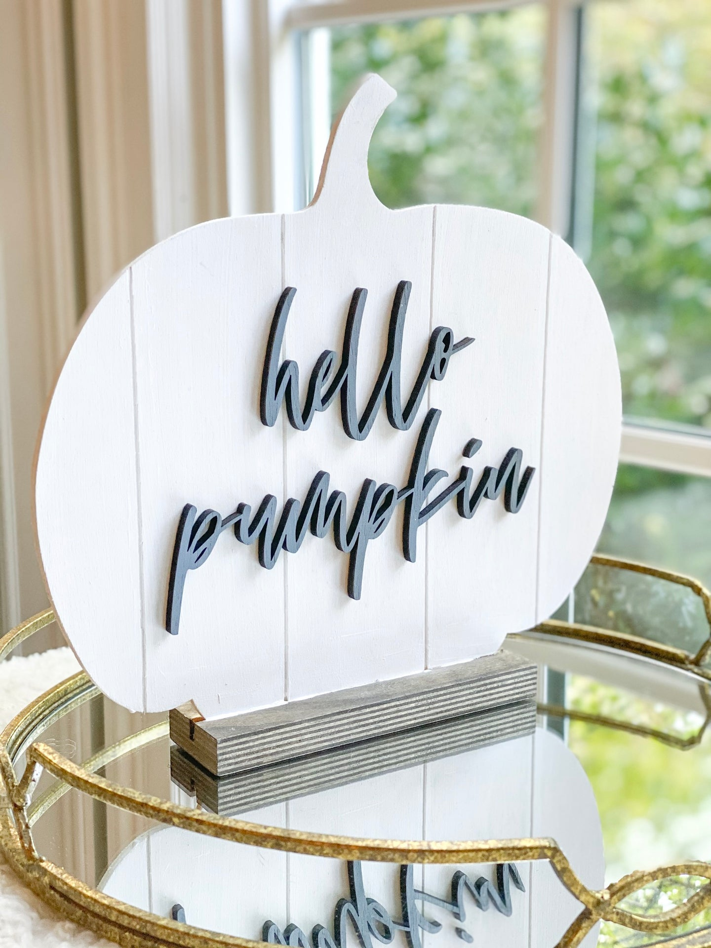 Shiplap Wood Pumpkin with Stand - hello pumpkin