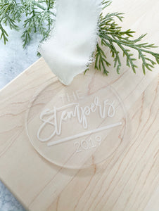 Engraved Family Name Ornament - Personalized