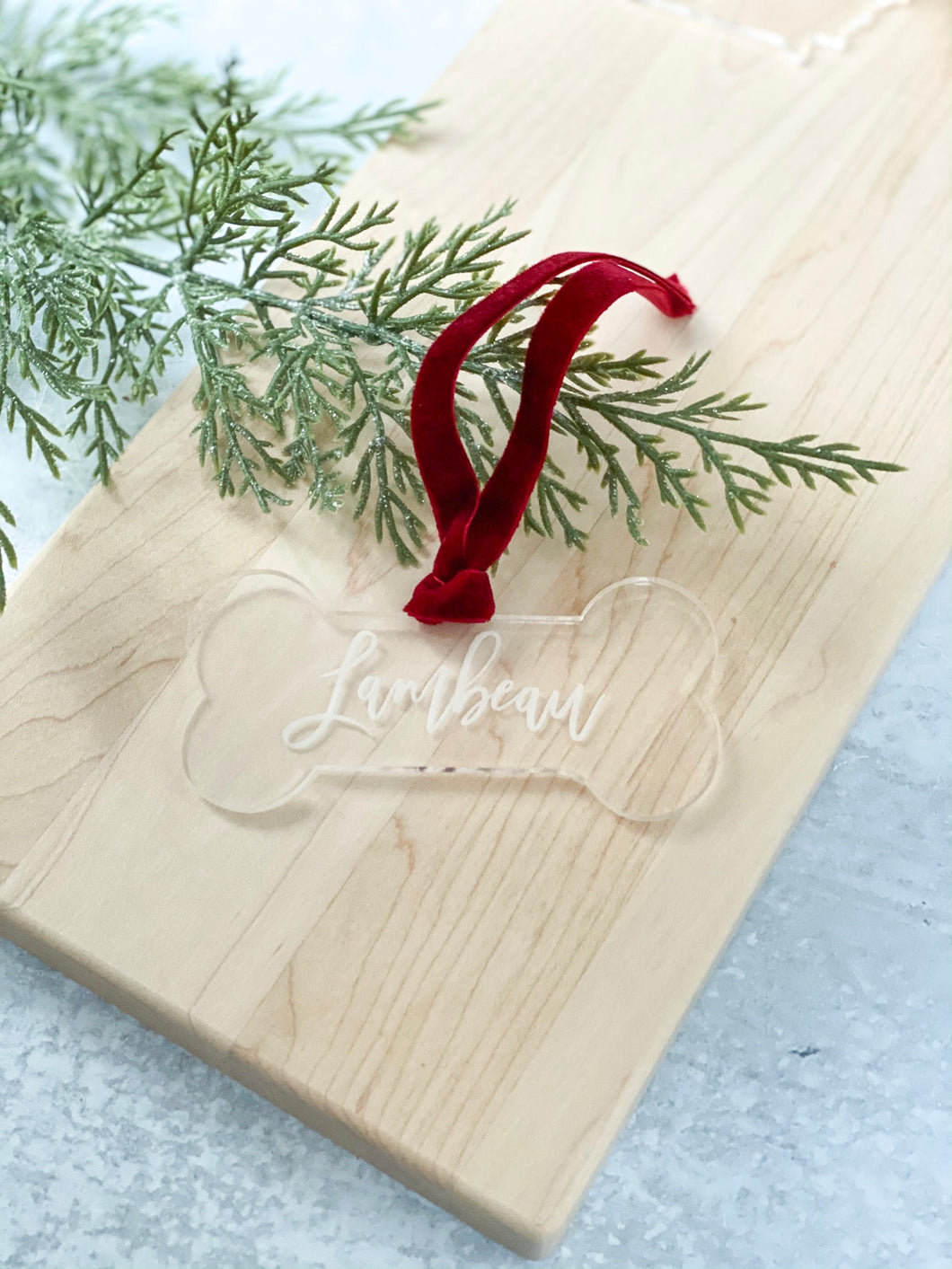 Engraved Dog Bone Ornament - Personalized