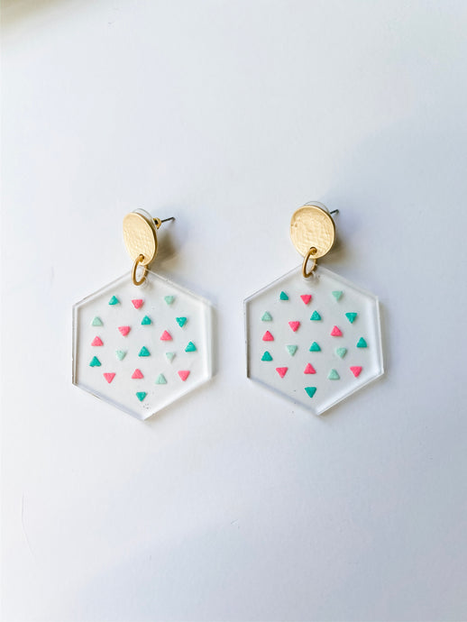 Confetti Clear Acrylic Hexagon Earrings - Wondermint Goods