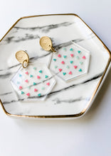 Load image into Gallery viewer, Confetti Clear Acrylic Hexagon Earrings - Wondermint Goods