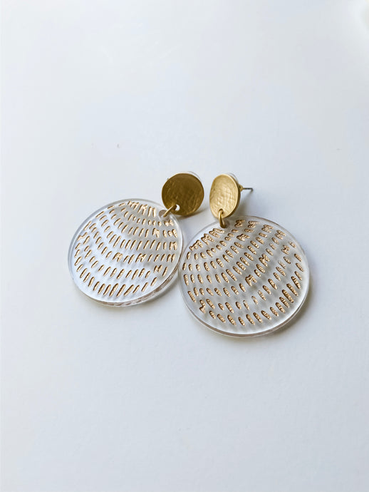 Gold Brush Stroke Acrylic Circle Earrings - Wondermint Goods